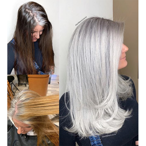 Jack Martin @jackmartincolorist Box Dye Color Correction All Over Gray Silver Granny Gray Back To Gray Brunette Before